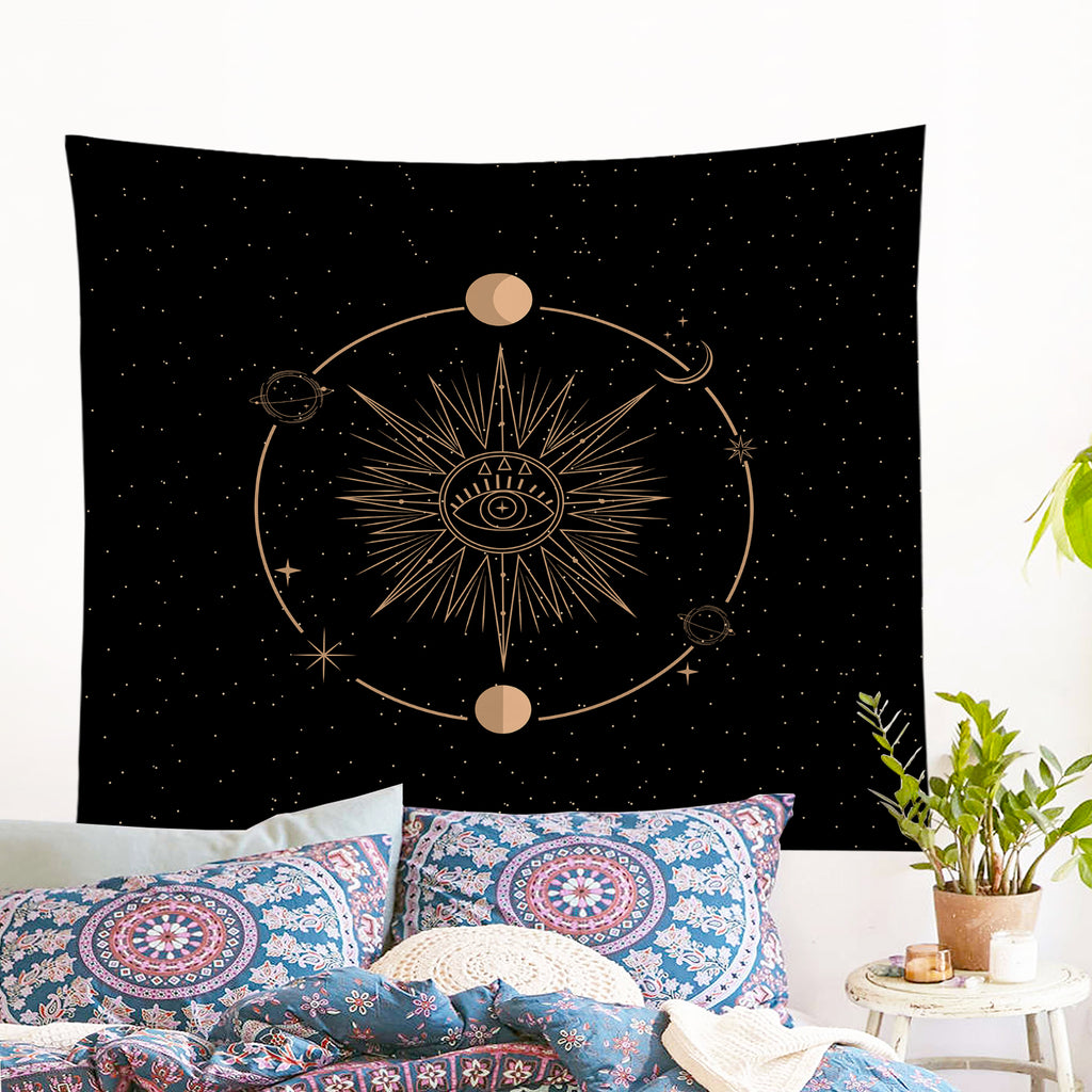 Minds Eye - Black Wall Tapestry - Bohemian Vibes Australia
