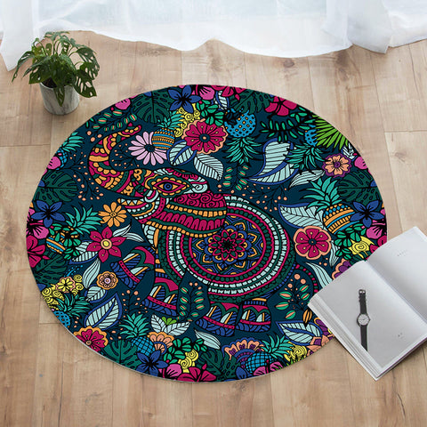 Tropical Elephant Round Floor Mat