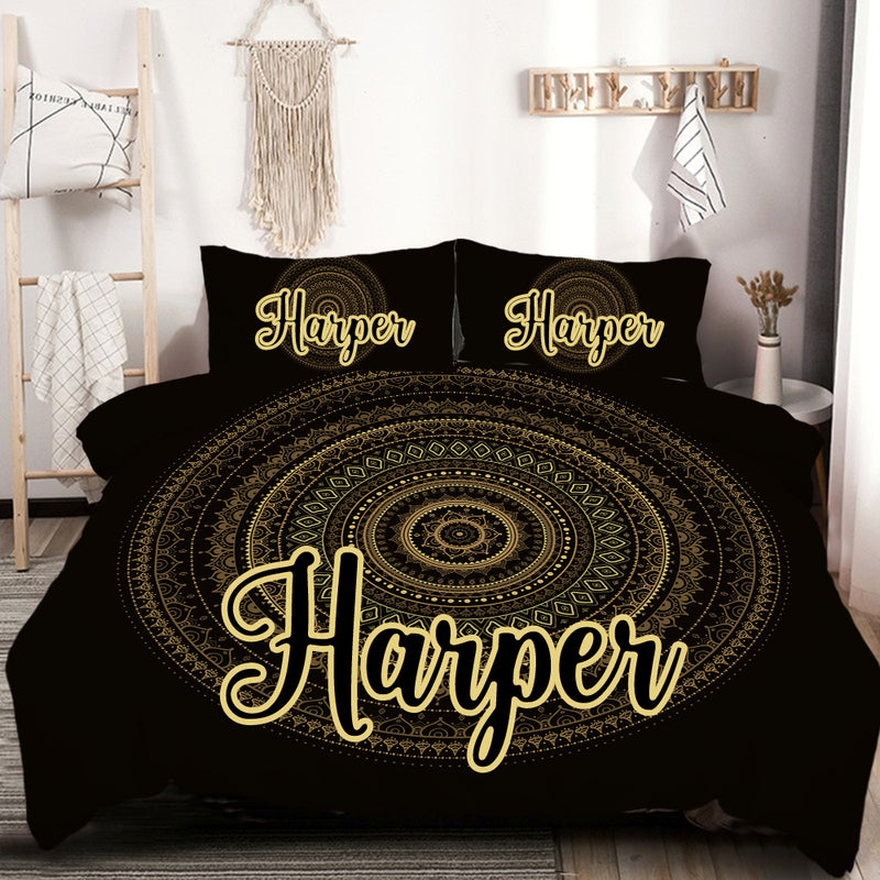 Customised Black & Gold Mandala Quilt Cover Set - Bohemian Vibes Australia