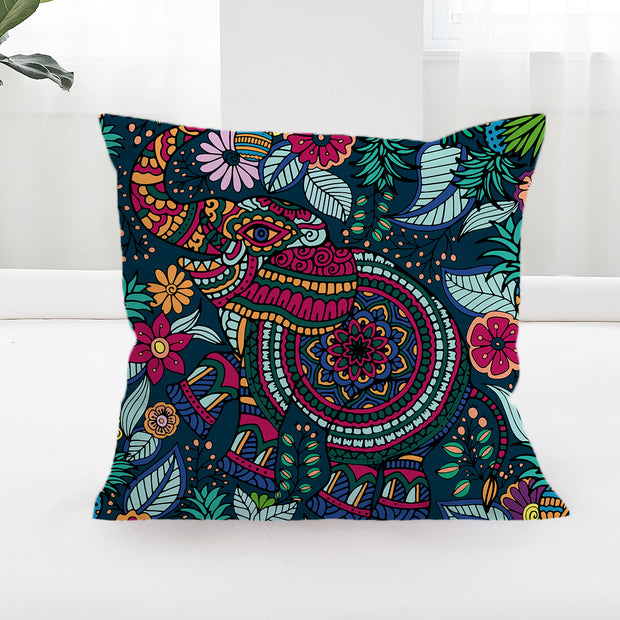Tropical Elephant Square Cushion Cover