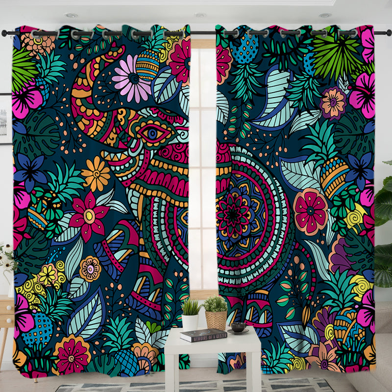 Tropical Elephant Curtain