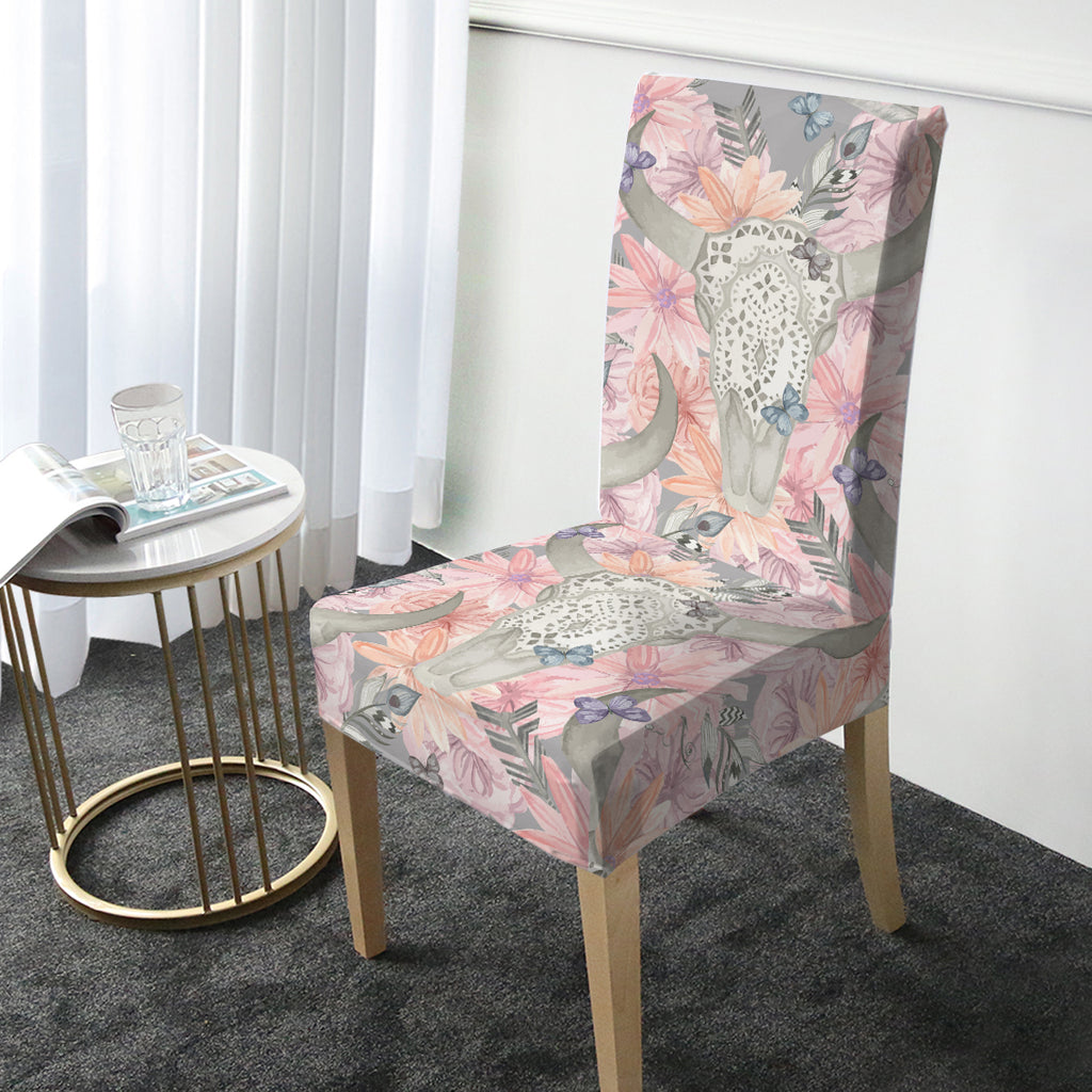 Floral Bull Skull Chair Cover