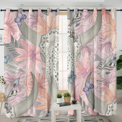 Floral Bull Skull Curtains