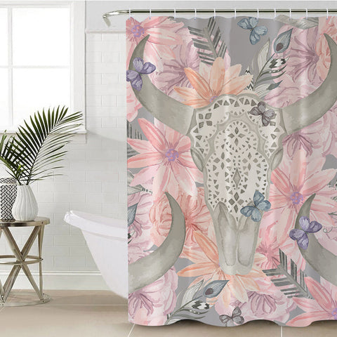 Floral Bull Skull Shower Curtain (PRE-ORDER)