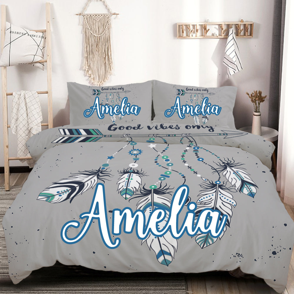 Customised Good Vibes Only Blue Quilt Cover Set - Bohemian Vibes Australia