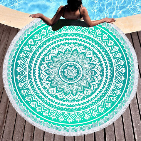 Mermaid Mandala Round Beach Towel