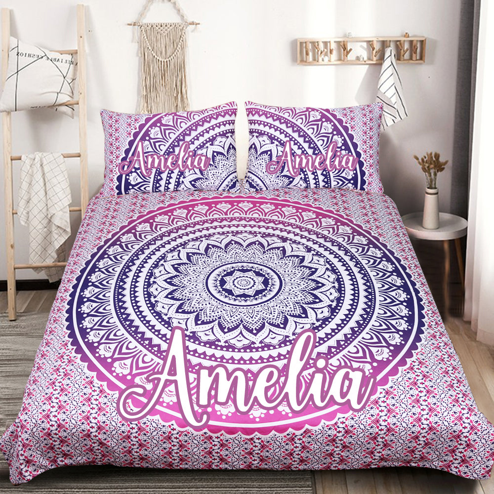 Customised Pink Ombre Quilt Cover Set - Bohemian Vibes Australia