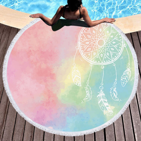 Rainbow Bohemian Dreams Round Beach Towel