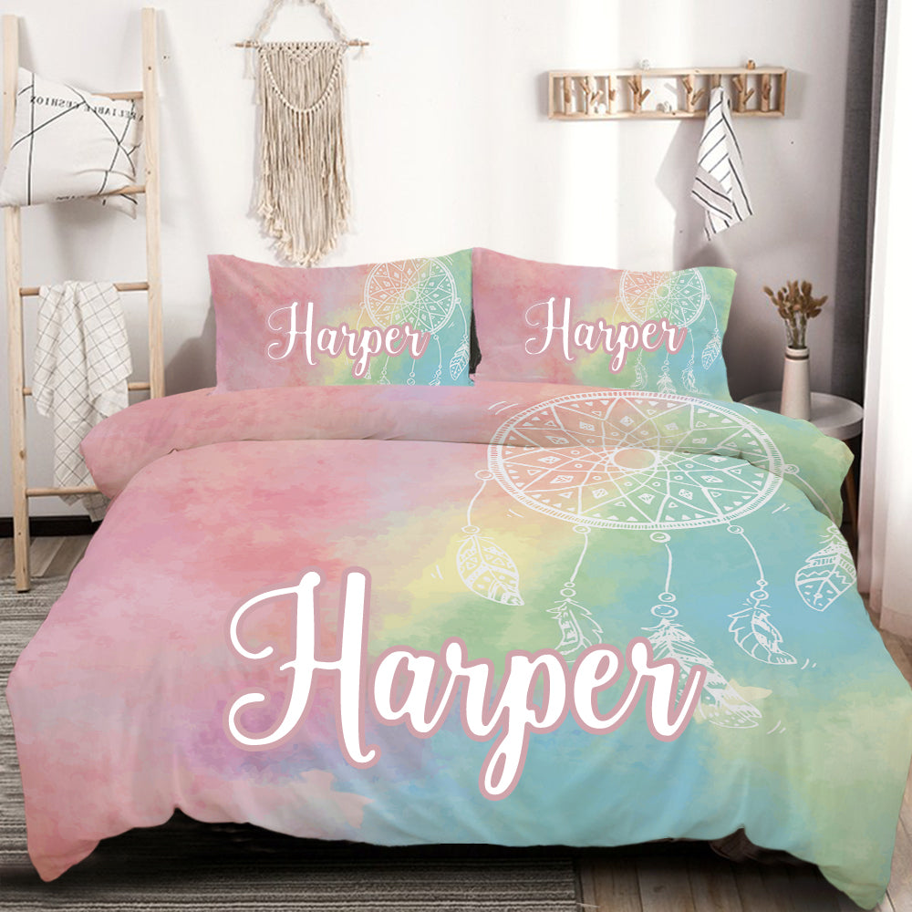 Personalised Rainbow Bohemian Dreams Quilt Cover Set - Bohemian Vibes Australia