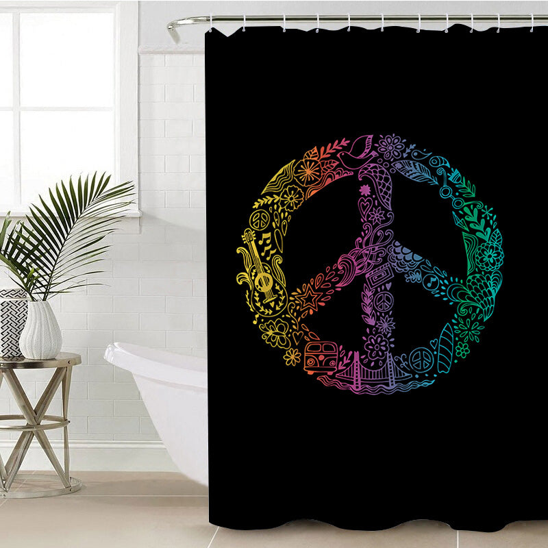 Hippie Peace Shower Curtain - Bohemian Vibes Australia