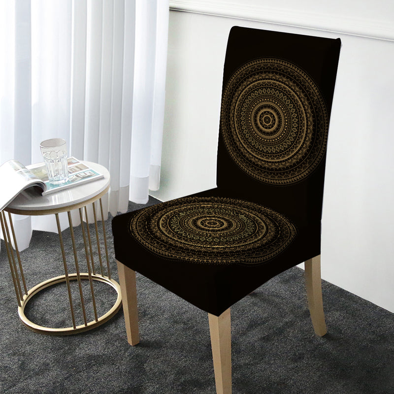 Black & Gold Mandala Chair Cover - Bohemian Vibes Australia
