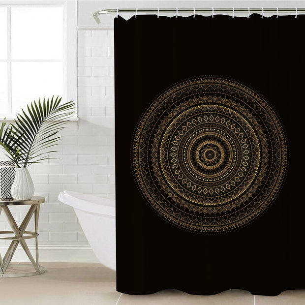 Black & Gold Mandala Shower Curtain