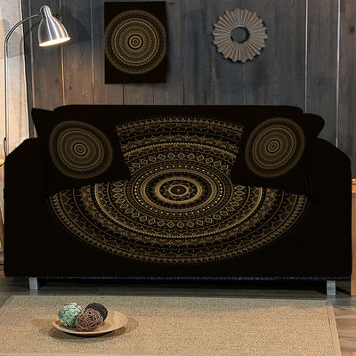 Black & Gold Mandala Sofa Cover