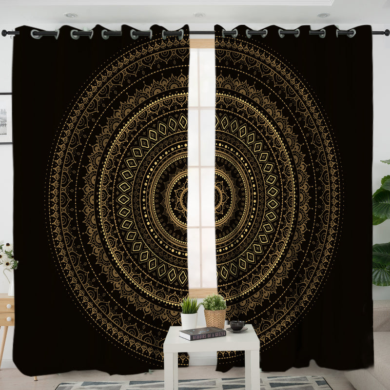Black & Gold Mandala Curtains - Bohemian Vibes Australia