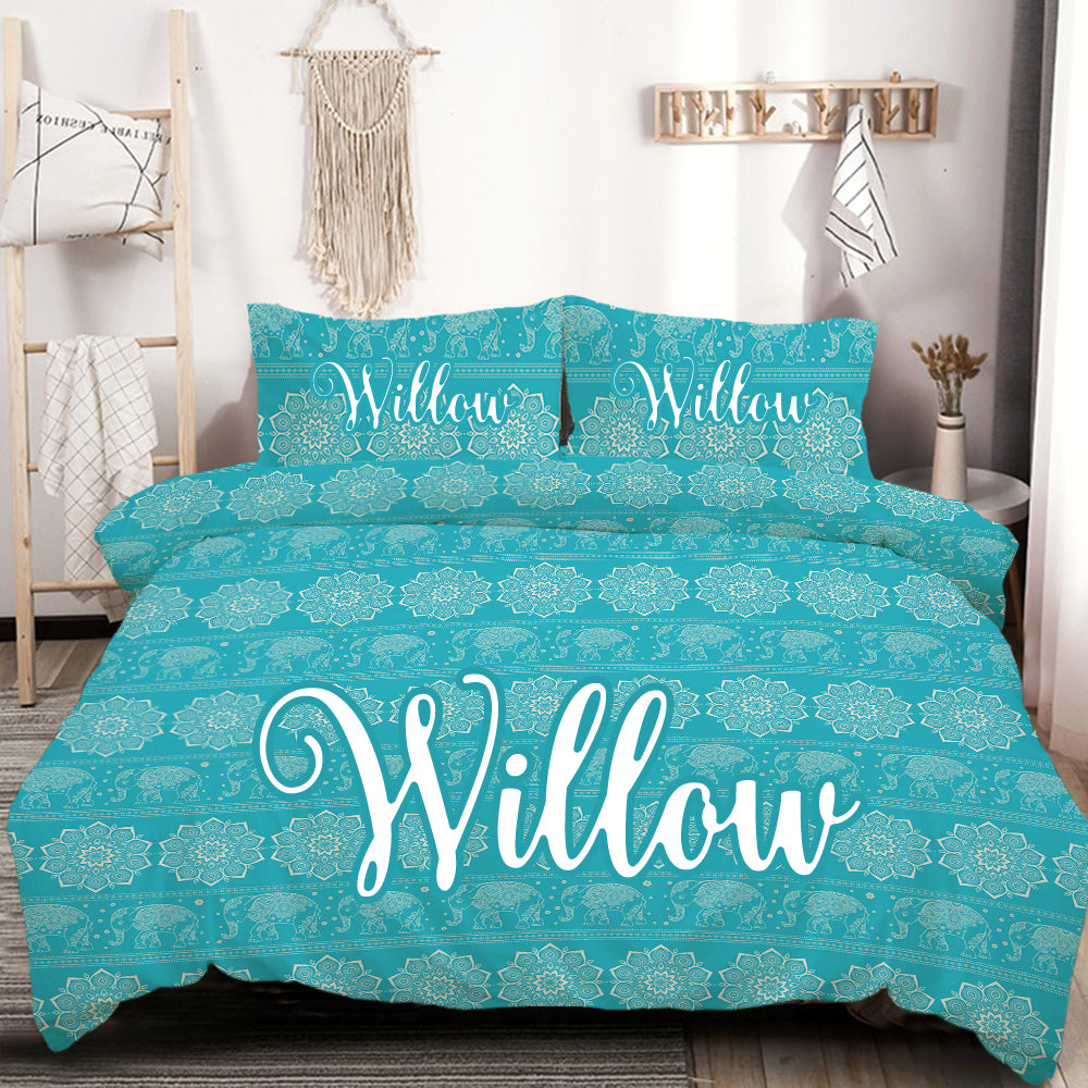 Customised Turquoise Elephant Quilt Cover Set - Bohemian Vibes Australia