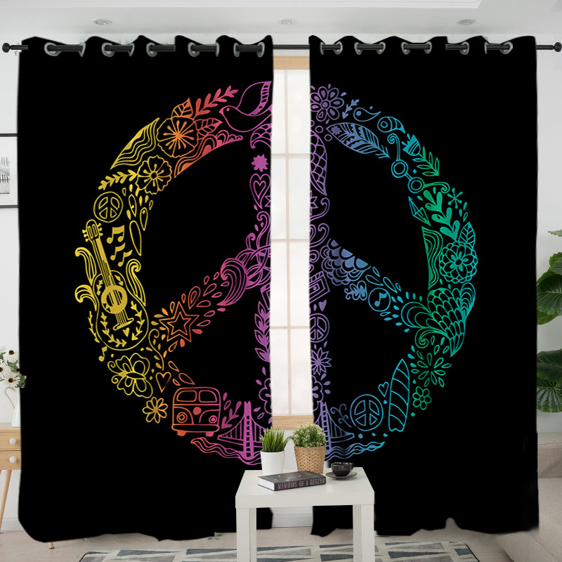 Hippie Peace Curtains - Bohemian Vibes Australia