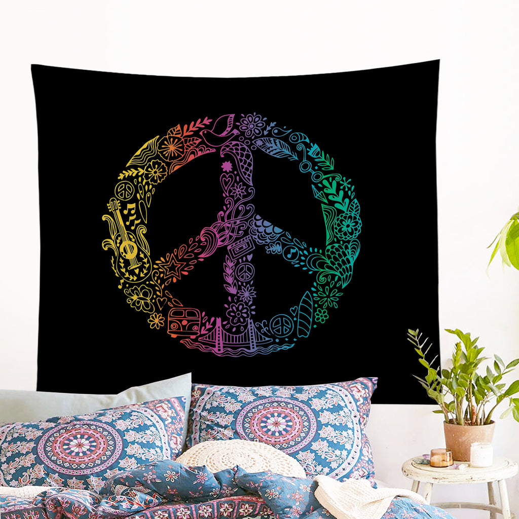Hippie Peace Wall Tapestry - Bohemian Vibes Australia