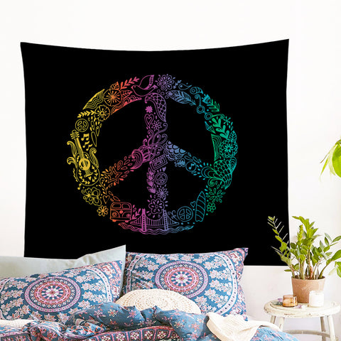 Hippie Peace Wall Tapestry