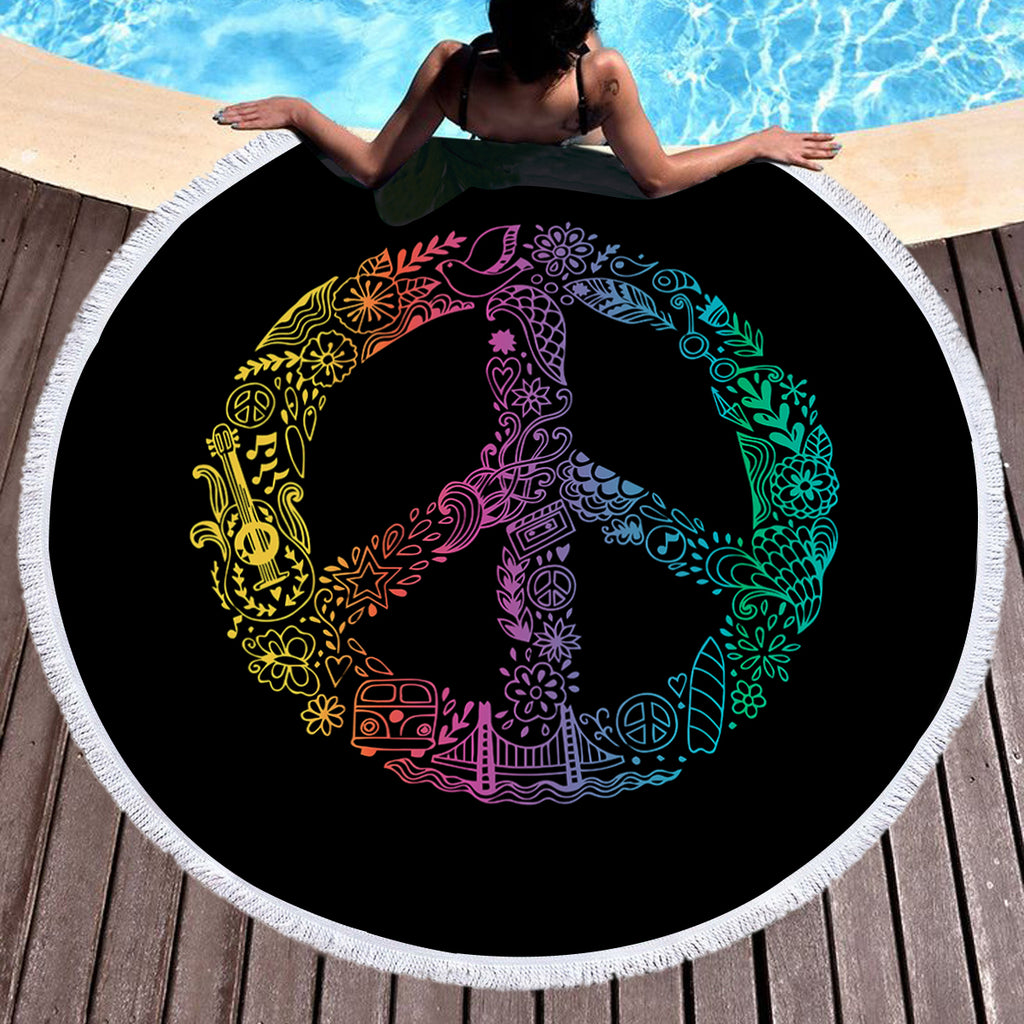 Hippie Peace Throw / Beach Towel - Bohemian Vibes Australia