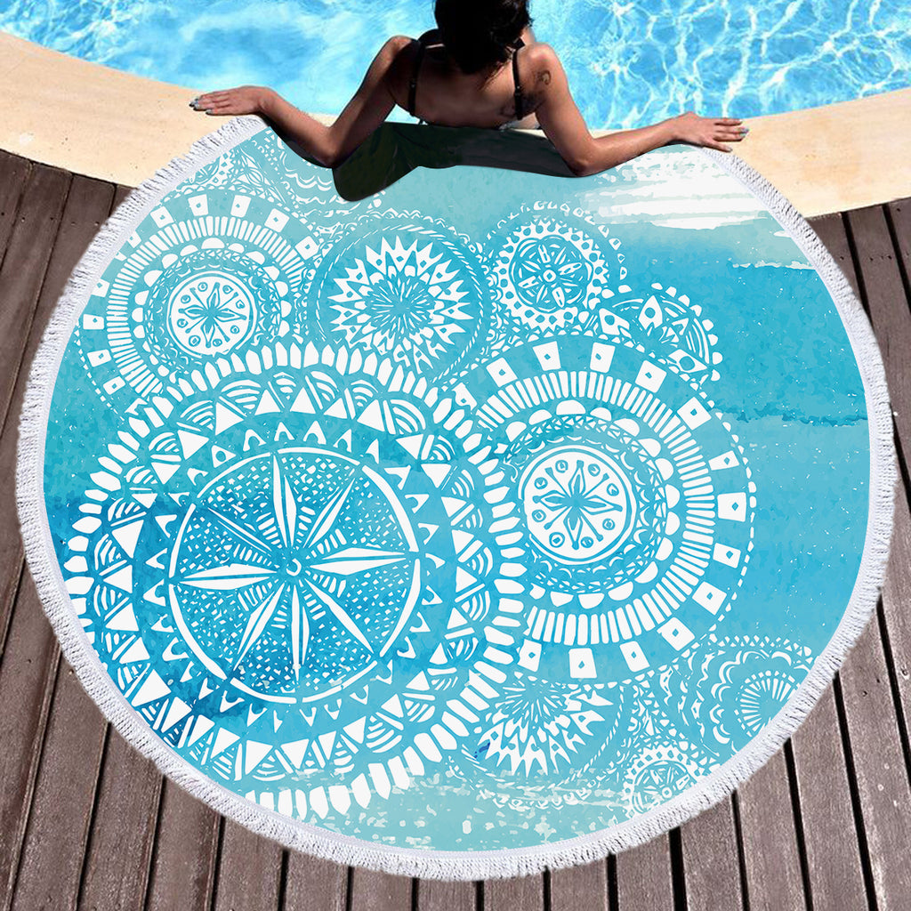 Deep Sea Round Beach Throw / Beach Towel - Bohemian Vibes Australia