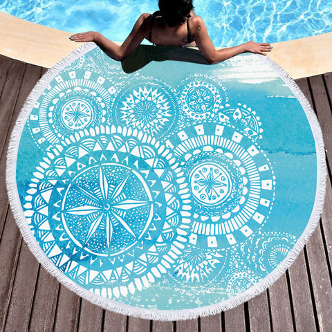 Deep Sea Round Beach Throw / Beach Towel