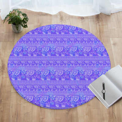Purple Elephant Round Floor Mat
