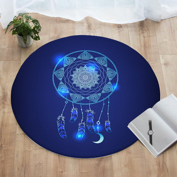 Blue Dreamcatcher Round Floor Mat