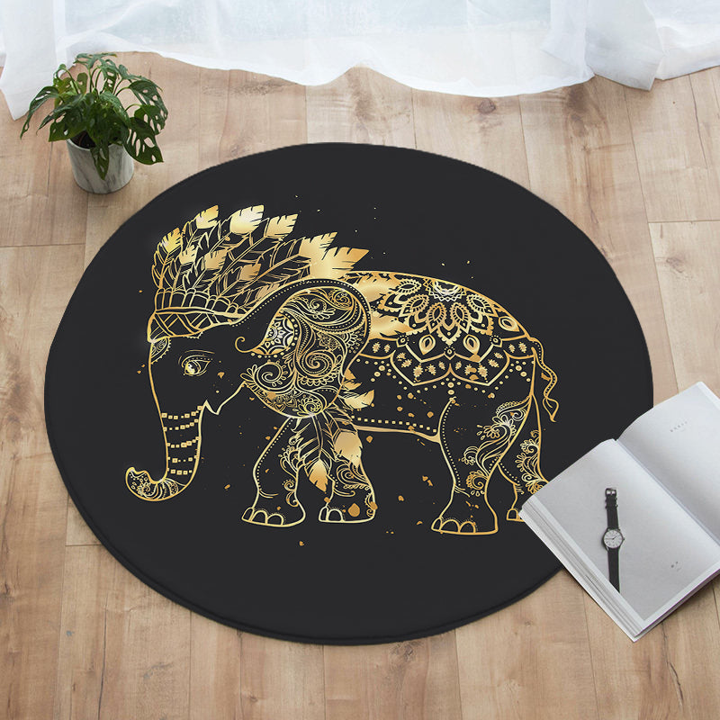 Elephant Chief Round Floor Mat
