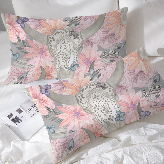 Floral Bull Skull Pillowcases