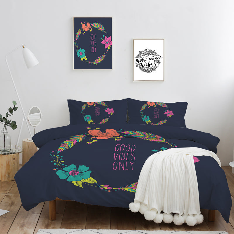 Good Vibes Only Quilt Cover Set - Bohemian Vibes Australia