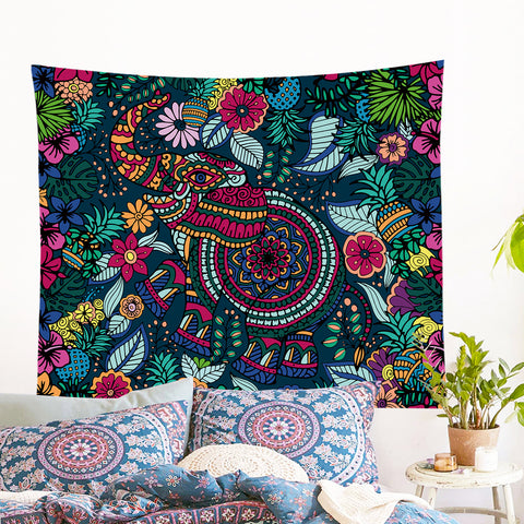 Tropical Elephant Wall Tapestry
