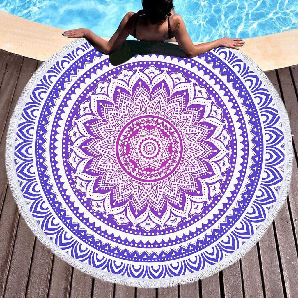 Purple Ombré Mandala Throw / Beach Towel - Bohemian Vibes Australia