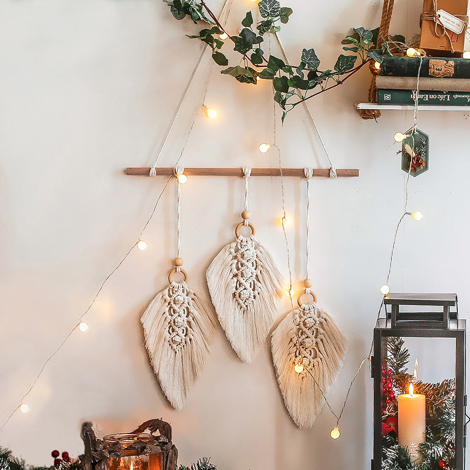Macrame Feather Wall Hanging - Bohemian Vibes Australia