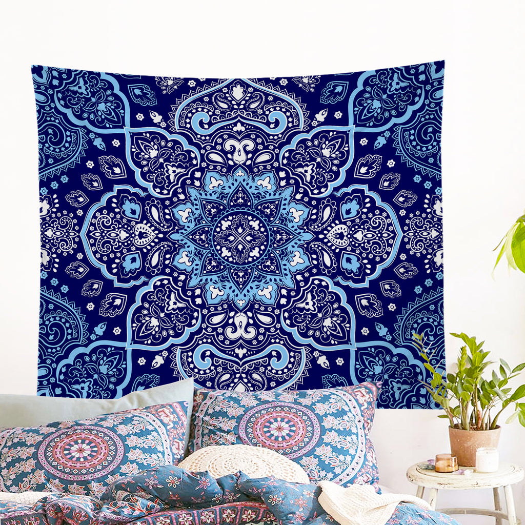 Endless Blues Wall Tapestry - Bohemian Vibes Australia