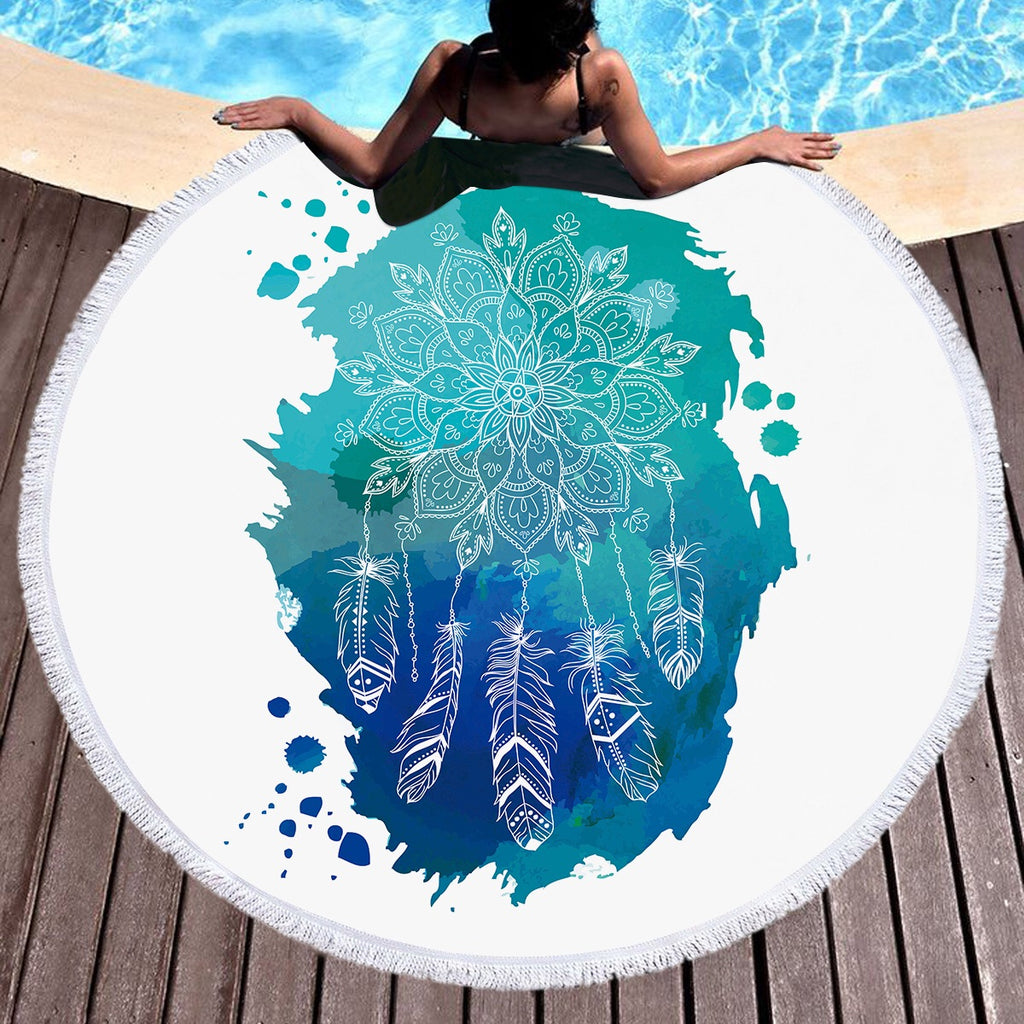 Lotus Dreamcatcher Throw / Beach Towel - Bohemian Vibes Australia