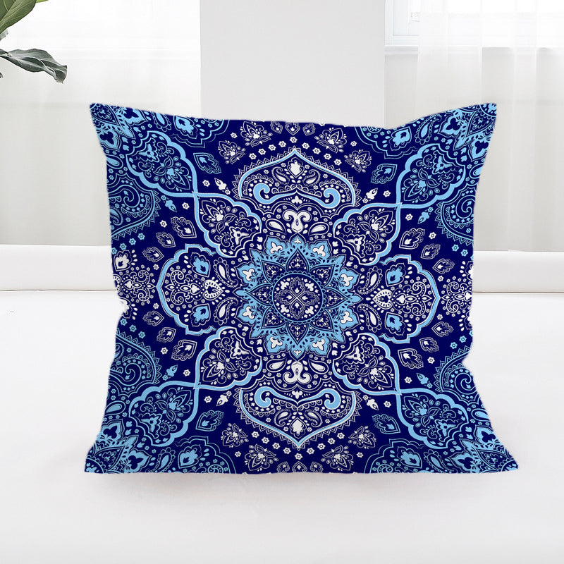 Endless Blues Square Cushion Cover - Bohemian Vibes Australia