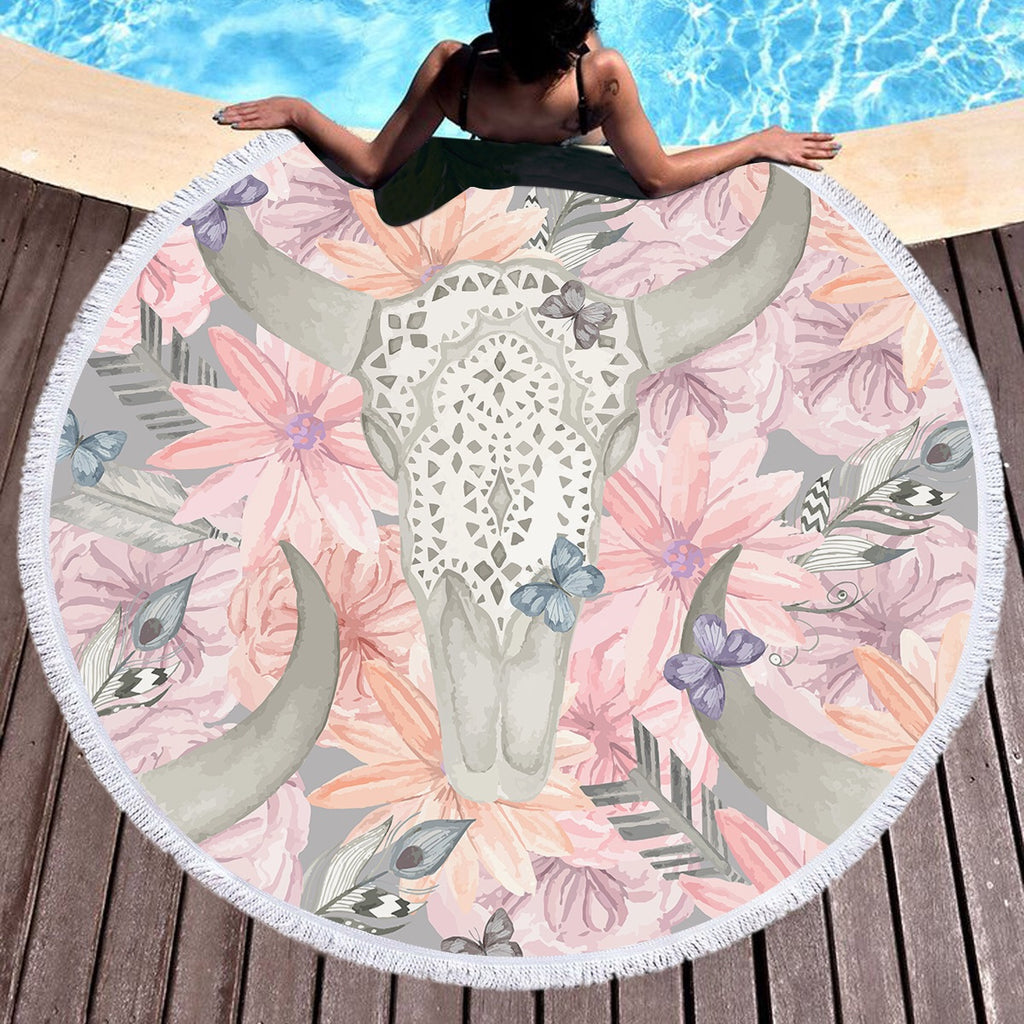 Floral Bull Skull Throw / Beach Towel - Bohemian Vibes Australia