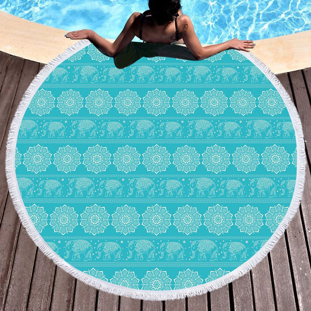 Turquoise Elephant Throw / Beach Towel - Bohemian Vibes Australia