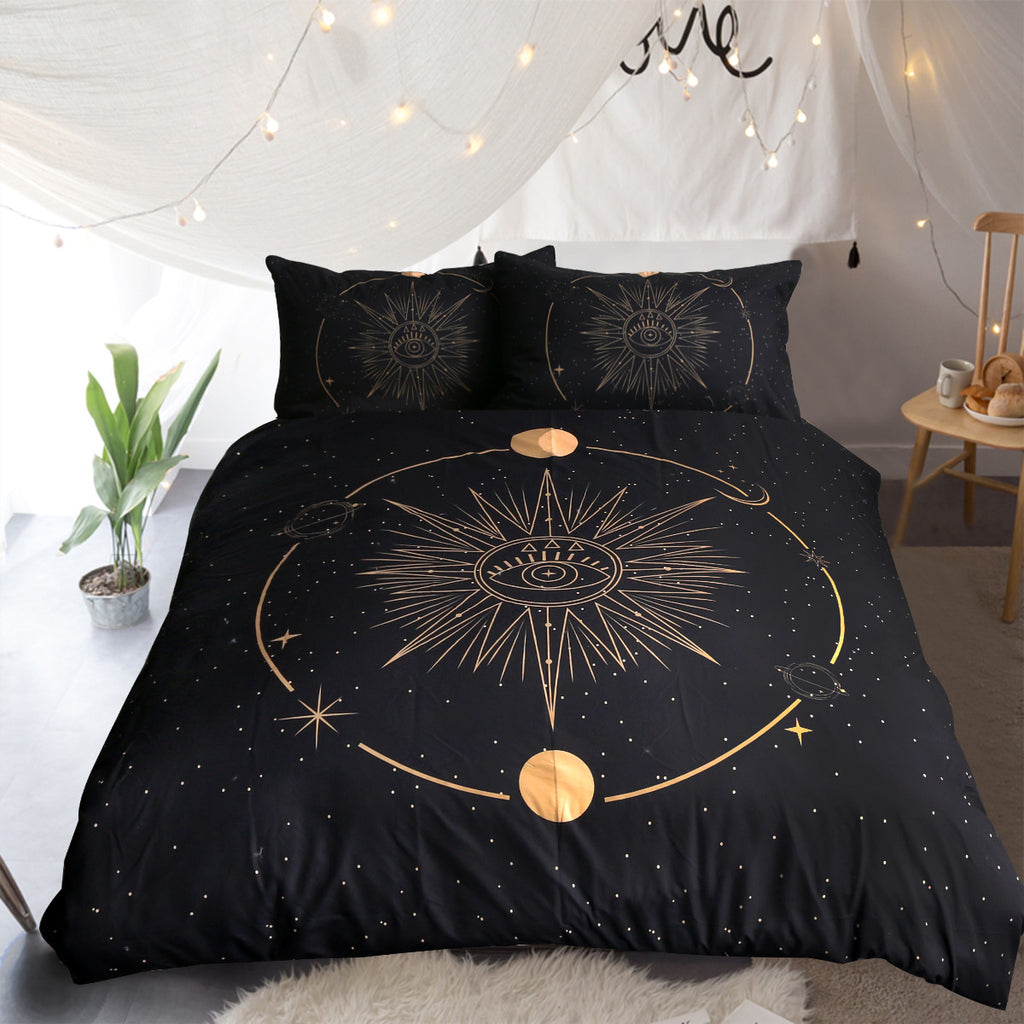 Minds Eye - Black Quilt Cover Set - Bohemian Vibes Australia