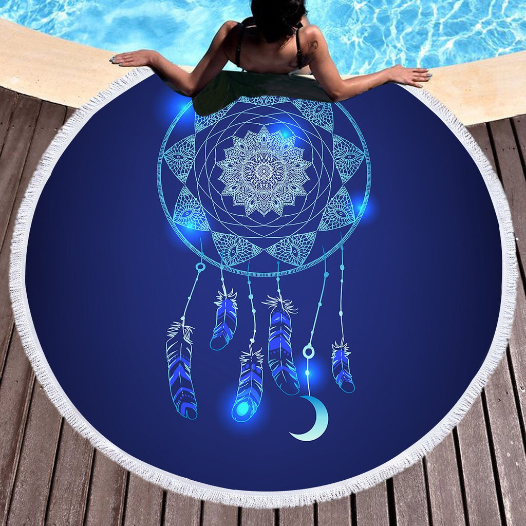 Blue Dreamcatcher Throw / Beach Towel - Bohemian Vibes Australia