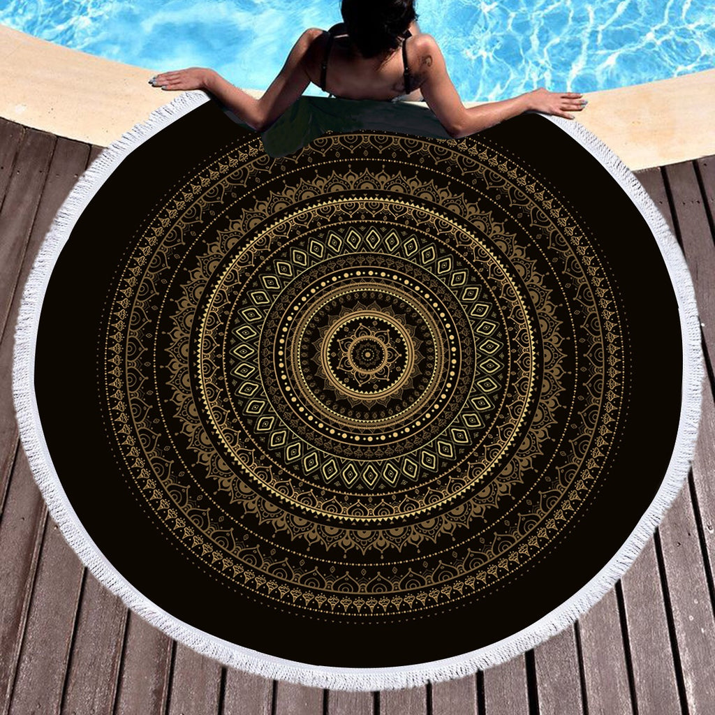 Black & Gold Mandala Throw / Beach Towel - Bohemian Vibes Australia