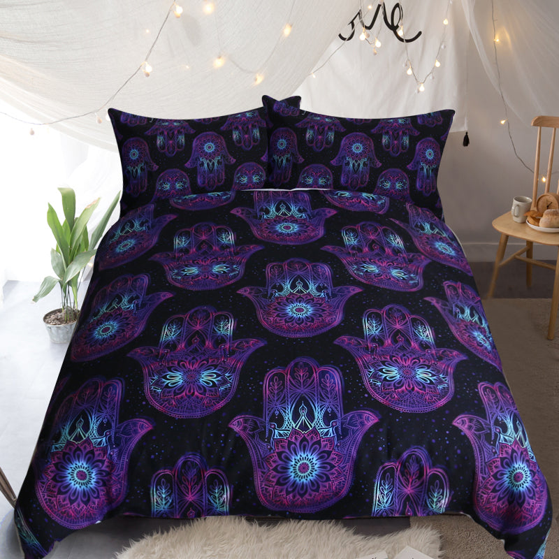 Hand of Hamsa Quilt Cover Set - Bohemian Vibes Australia