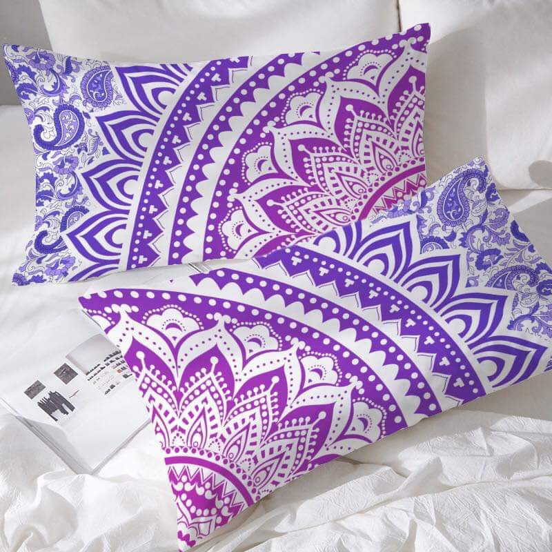 Purple Ombré Mandala Pillowcases - Bohemian Vibes Australia