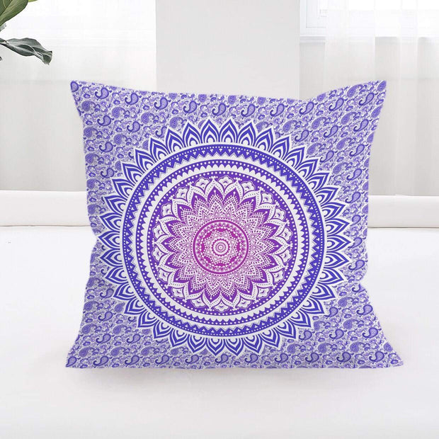 Purple Ombré Mandala Cushion Cover