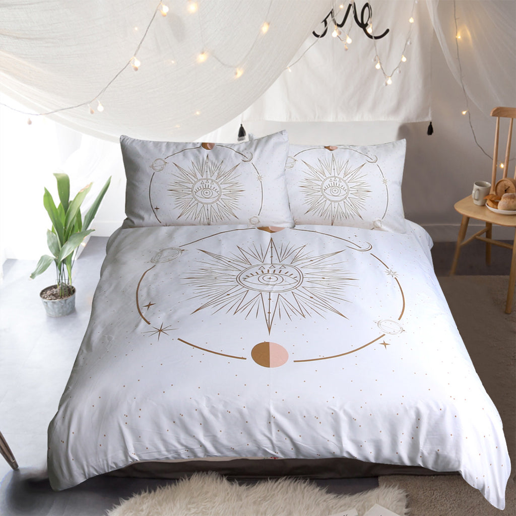 Minds Eye - White Quilt Cover Set - Bohemian Vibes Australia
