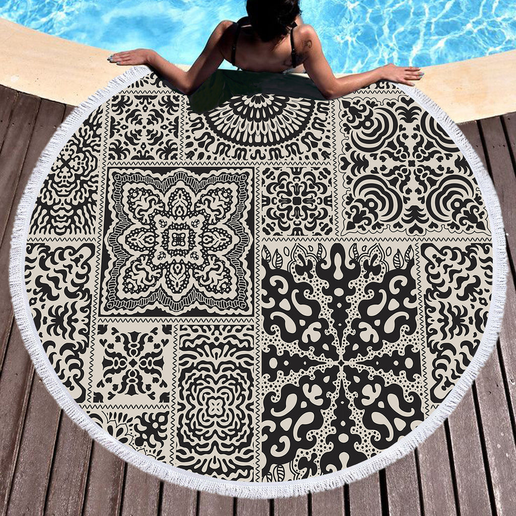 Luxe Round Beach Throw / Beach Towel - Bohemian Vibes Australia