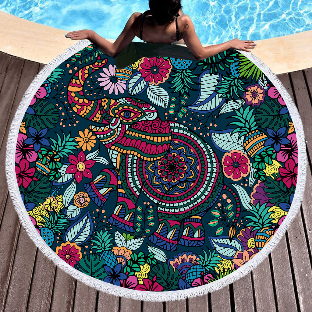 Tropical Elephant Throw / Beach Towel - Bohemian Vibes Australia