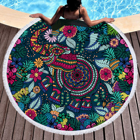 Tropical Elephant Round Beach Towel  *LIMITED EDITION*