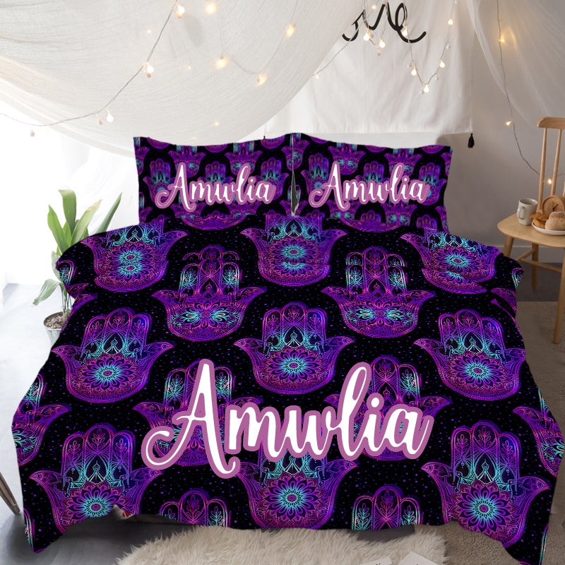 Hand of Hamsa Personalised Quilt Cover Set - Bohemian Vibes Australia