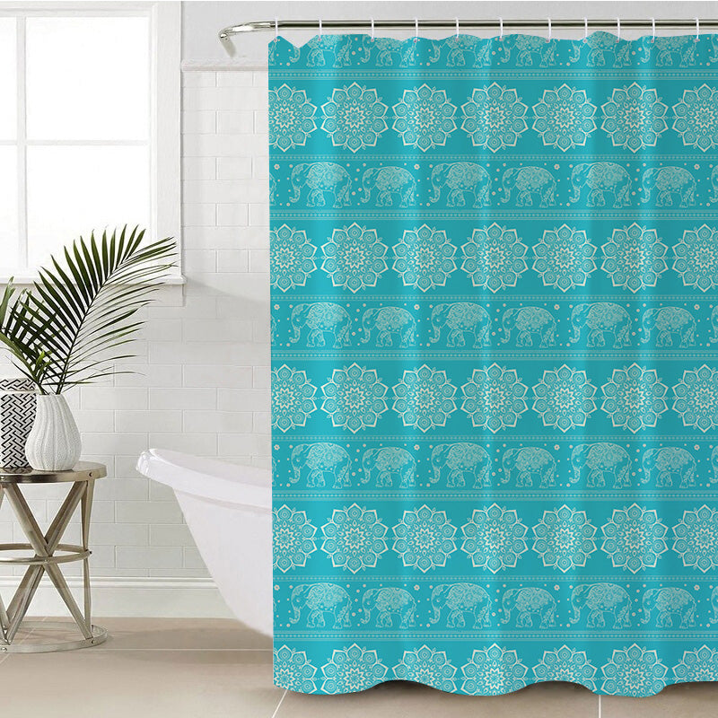 Turquoise Elephant Shower Curtain